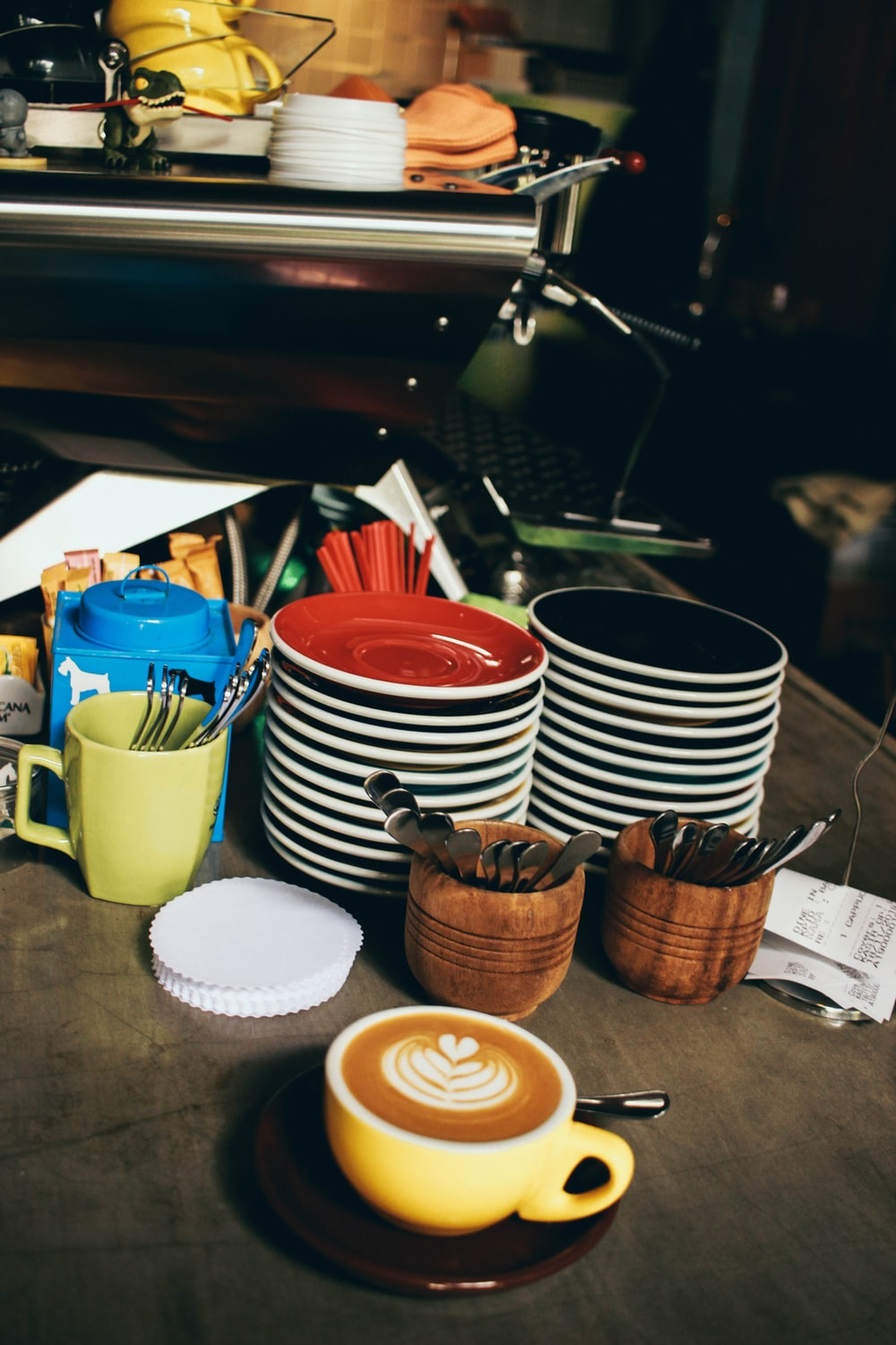 brown wooden cups on table