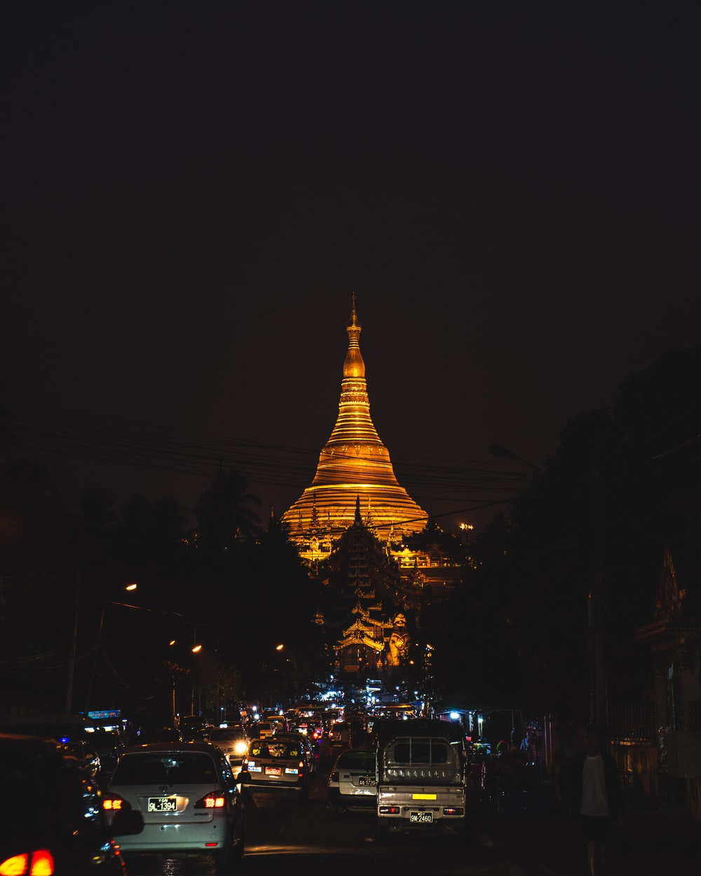 yellow lighted tower during night time