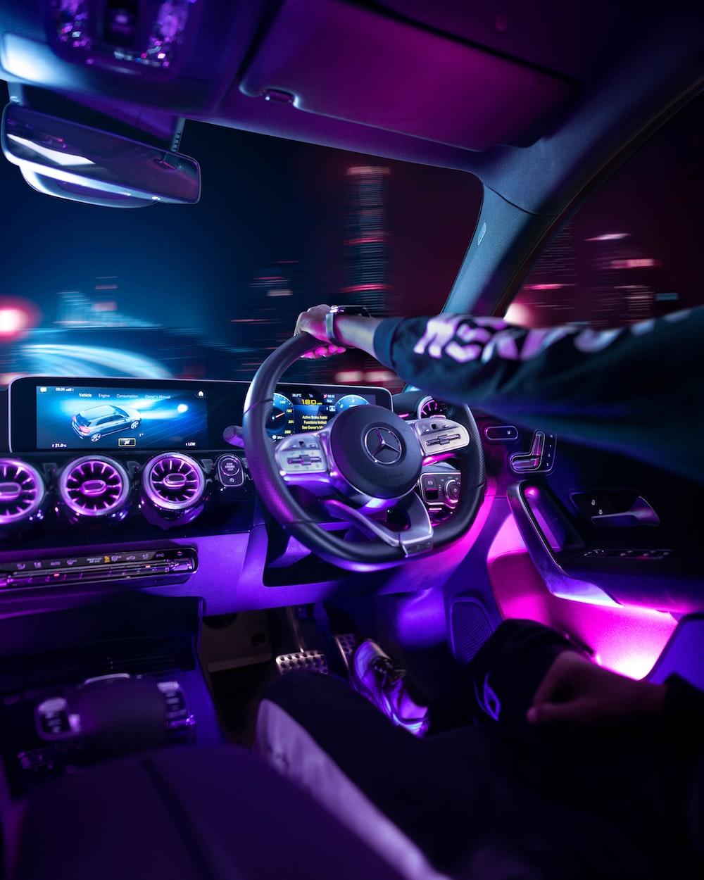 black and purple car interior