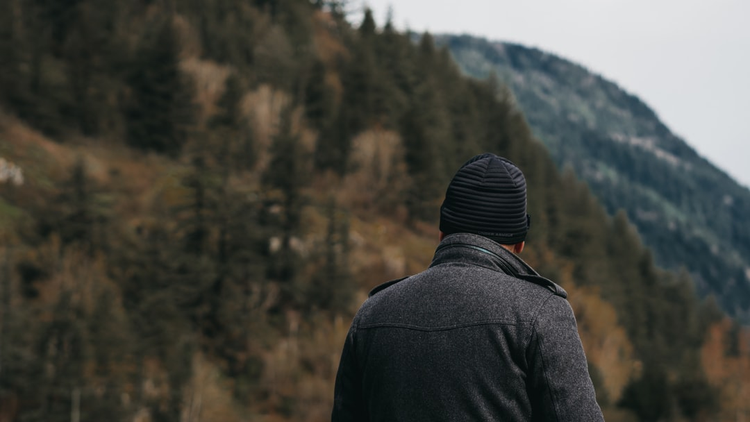 Person in nature looking at mountain