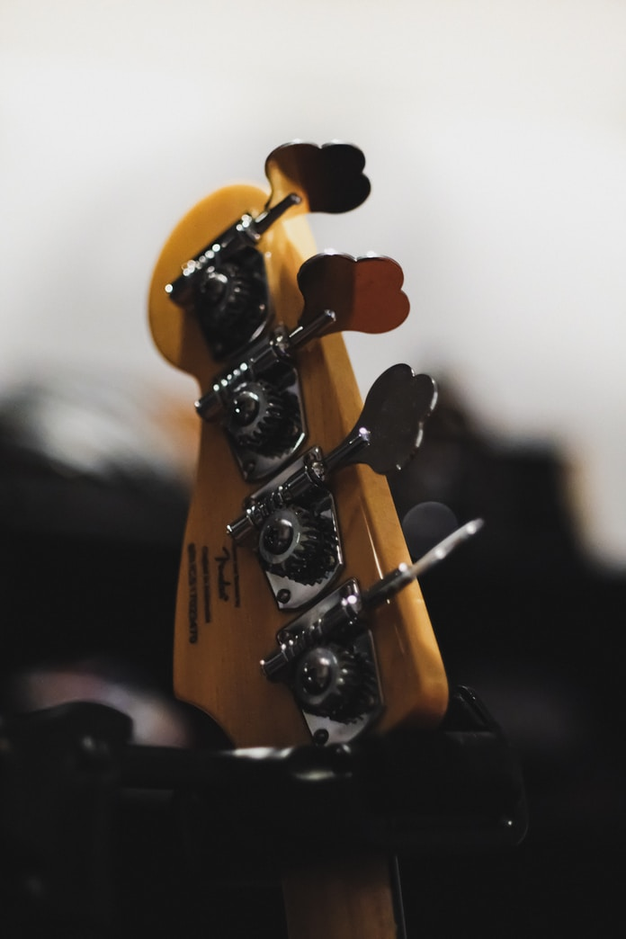 brown and black guitar head stock