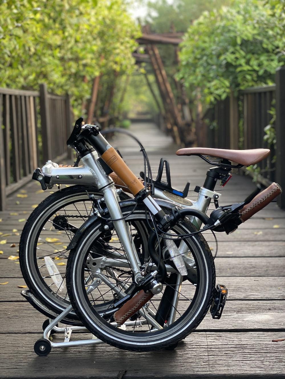 black bicycle on gray concrete floor