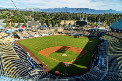 aerial view of football field during daytime dodgers teams background