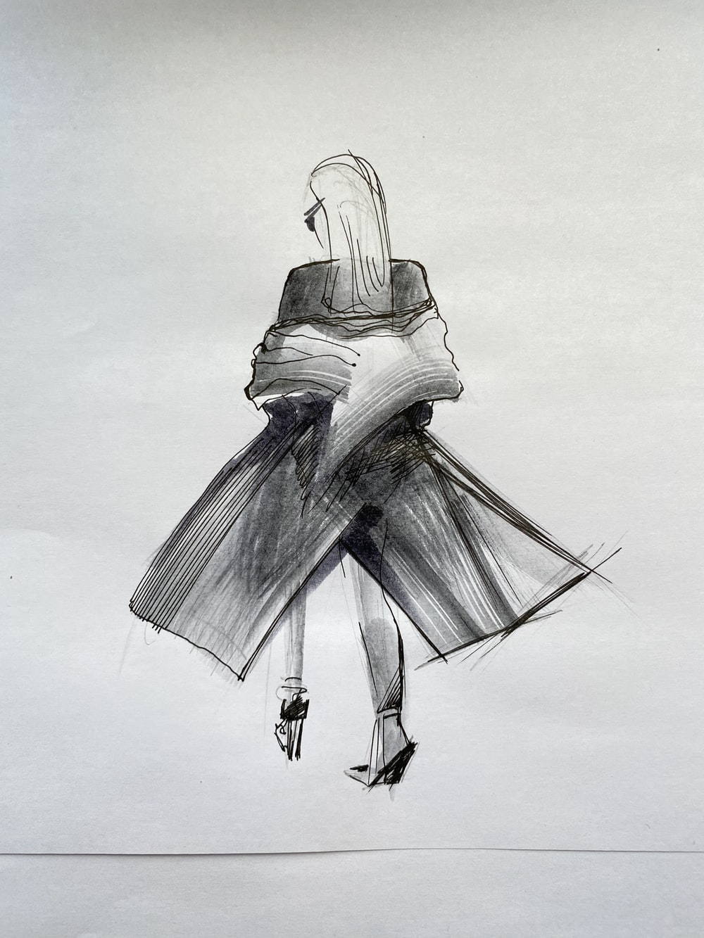 woman in white and black dress illustration