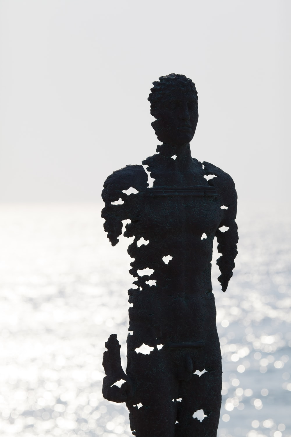 silhouette of man statue during daytime