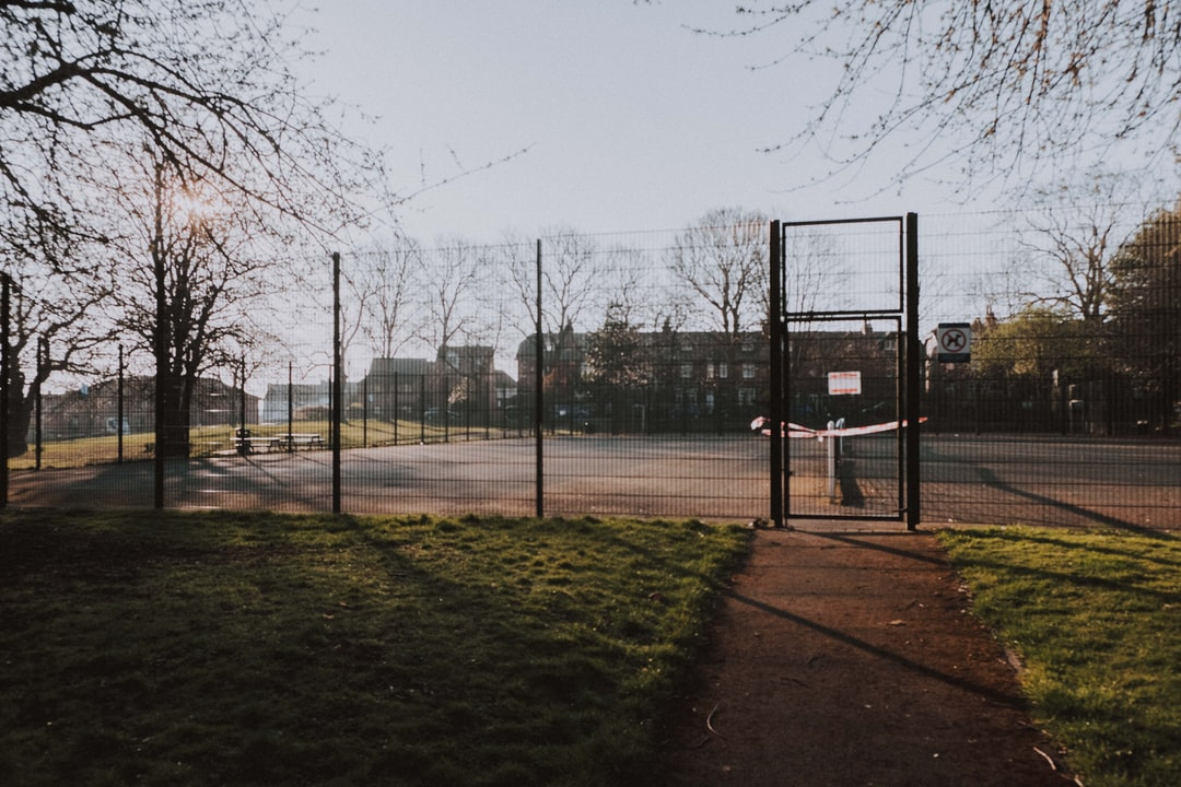 All public places are closed during COVID-19 lockdown in the UK, including this community tennis court.