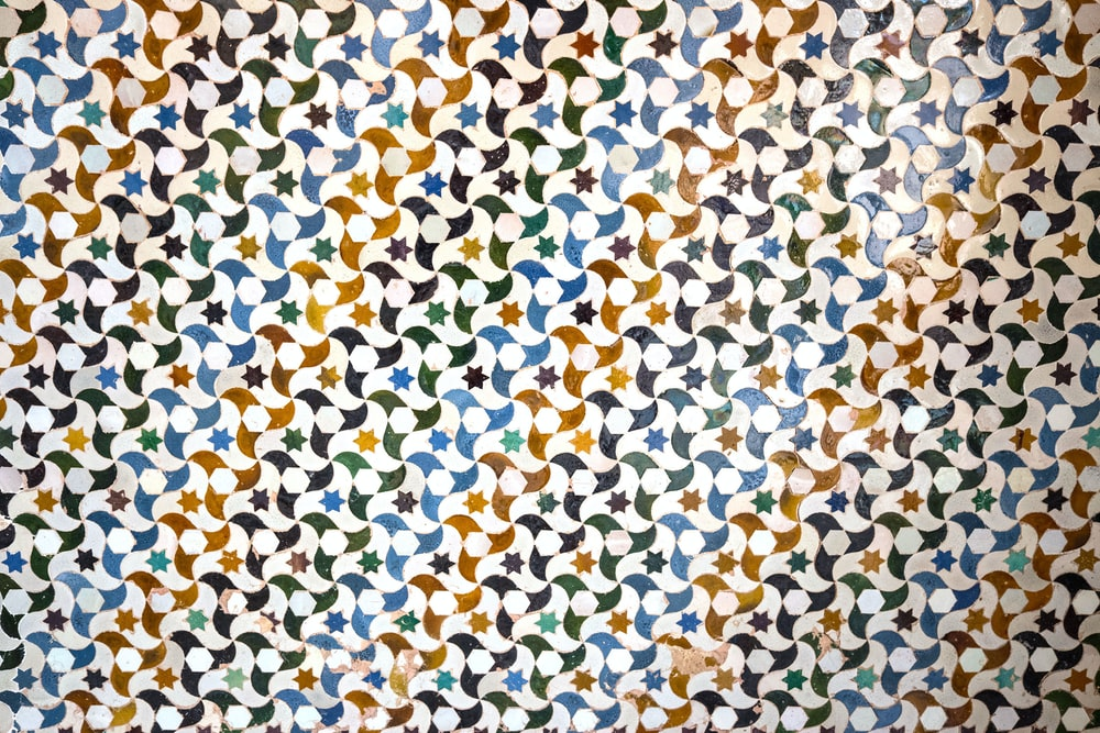 white yellow and blue textile