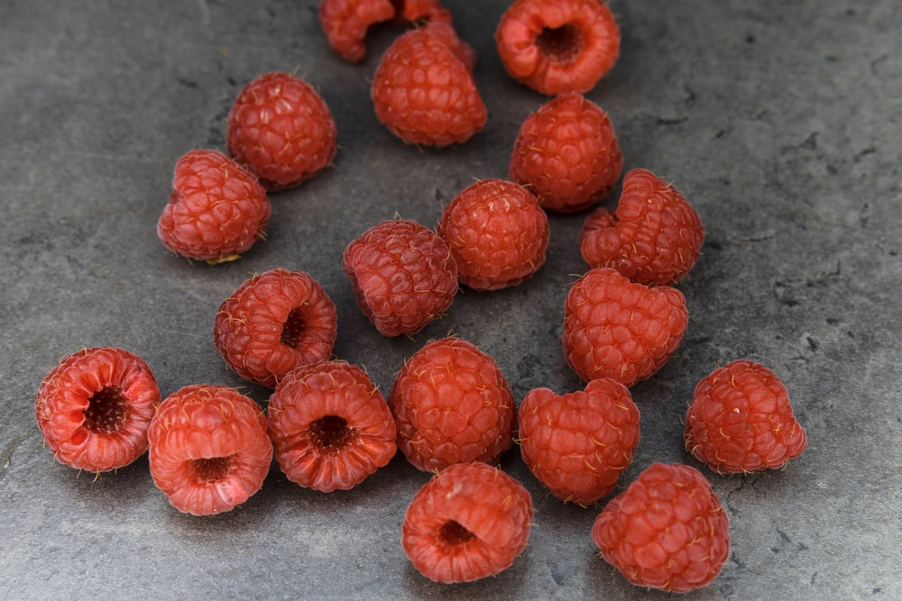 red round fruits on gray surface