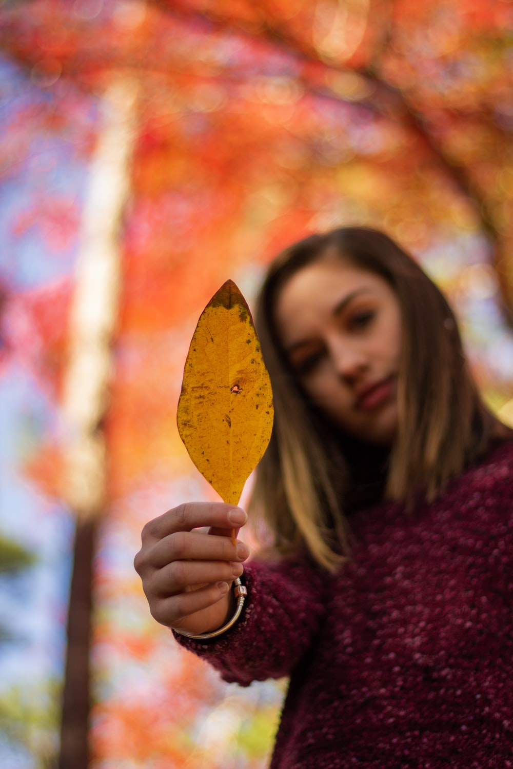 woman in purple sweater holding brown leaf