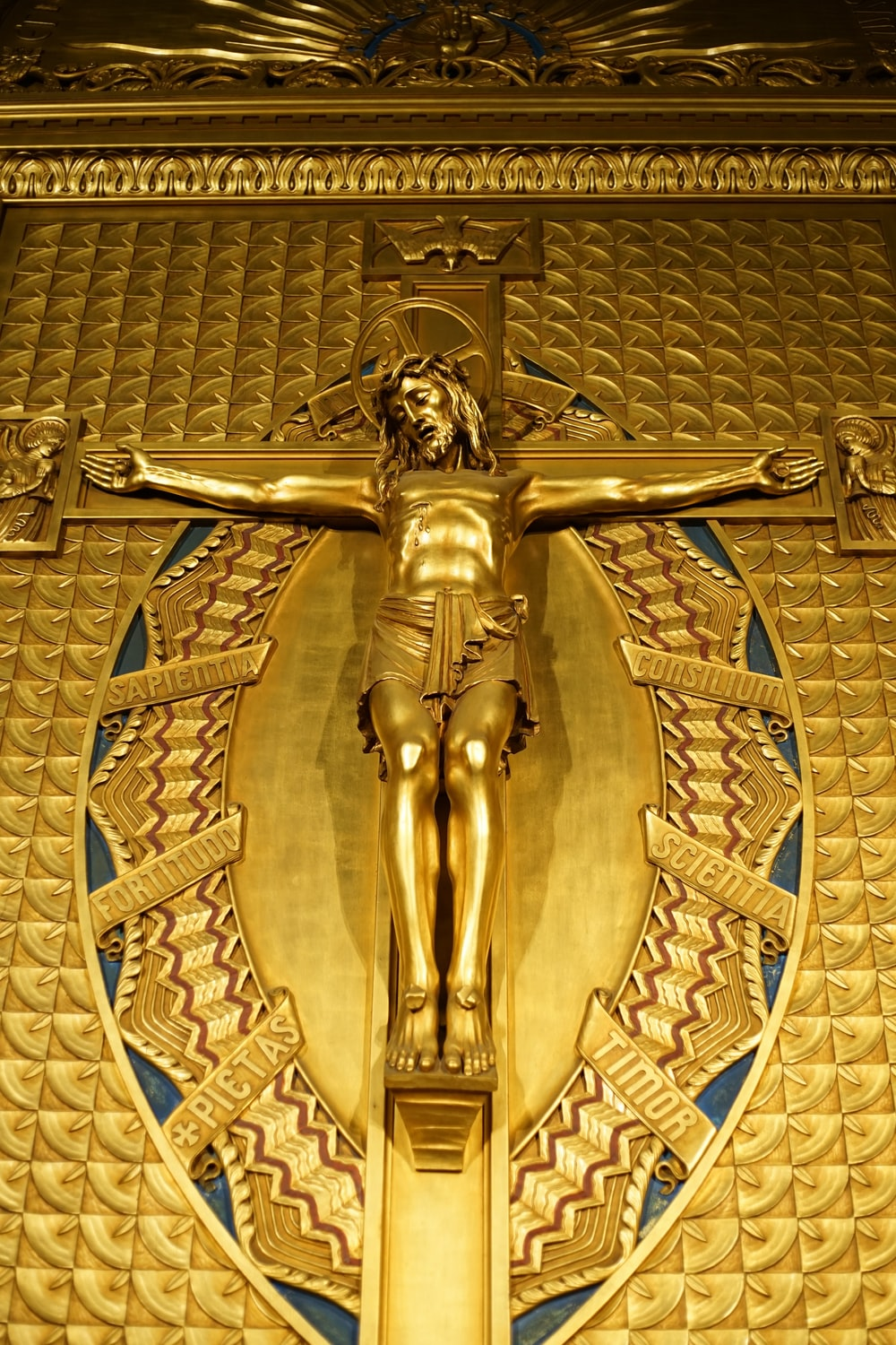 gold angel embossed wall decor