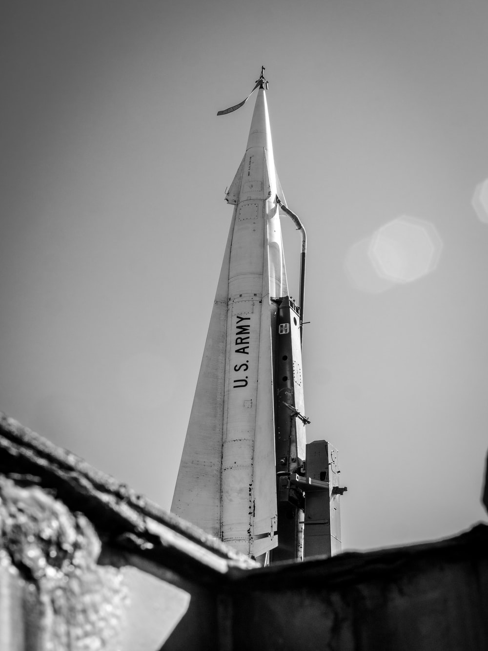 grayscale photo of space ship