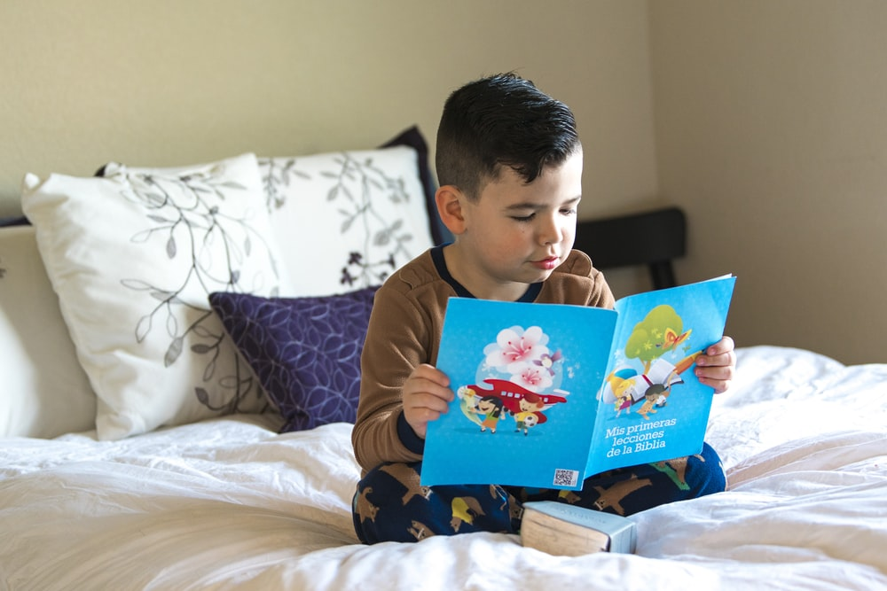 boy in blue and white crew neck t-shirt reading book