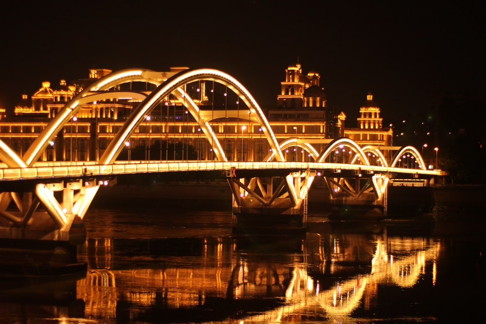 white bridge over river during night time