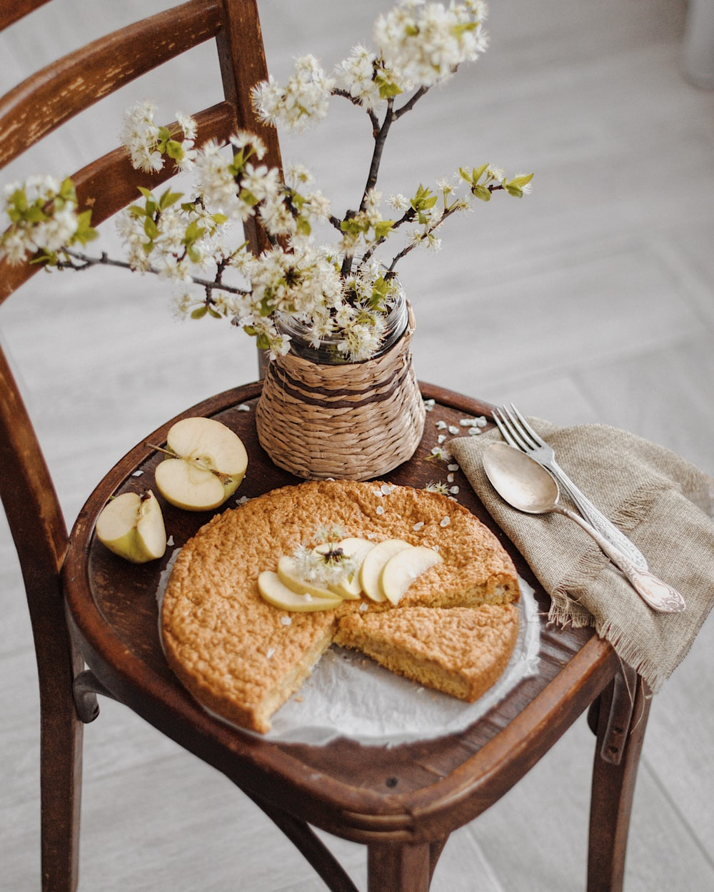 bread on brown wooden round plate