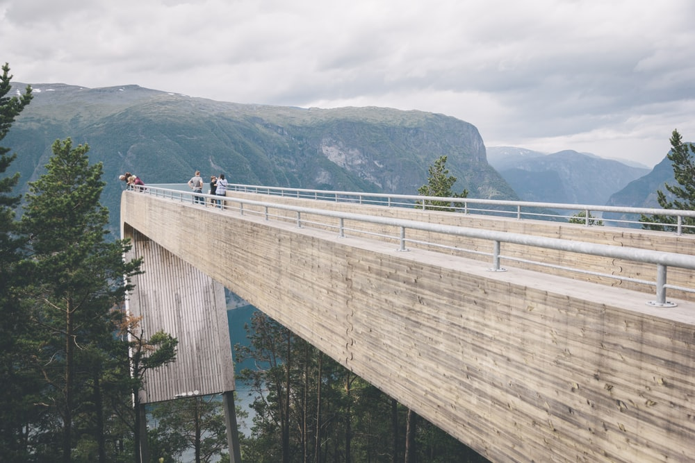 people walking on wooden bridge over the river