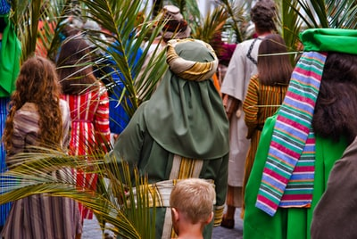 man in green coat standing beside man in brown and red stripe shirt palm sunday zoom background