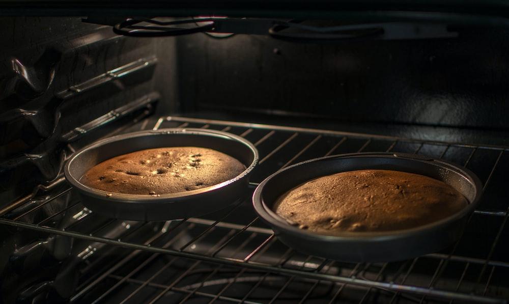 brown pastry on black pan