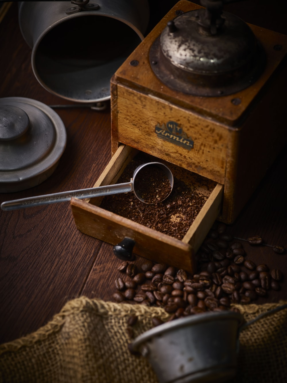 coffee beans on brown wooden box