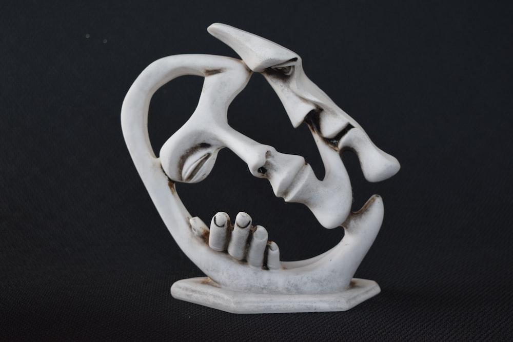 white animal skull on black textile