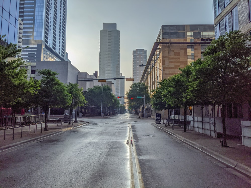 gray concrete road between green trees and high rise buildings during daytime