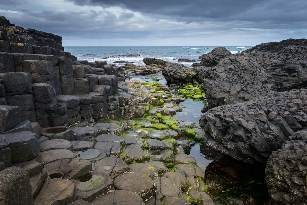 gray rocky shore under white cloudy sky during daytime