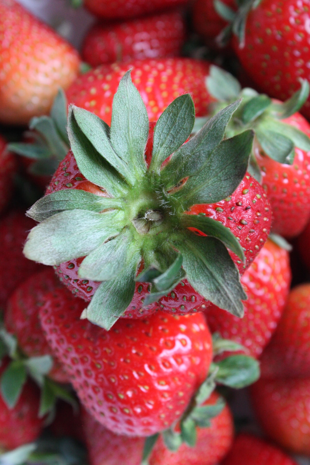 Organic strawberry in a basket from the market