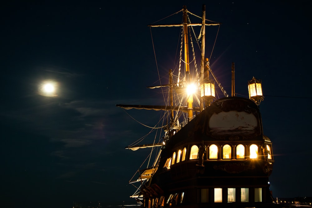 black and brown ship on sea during night time
