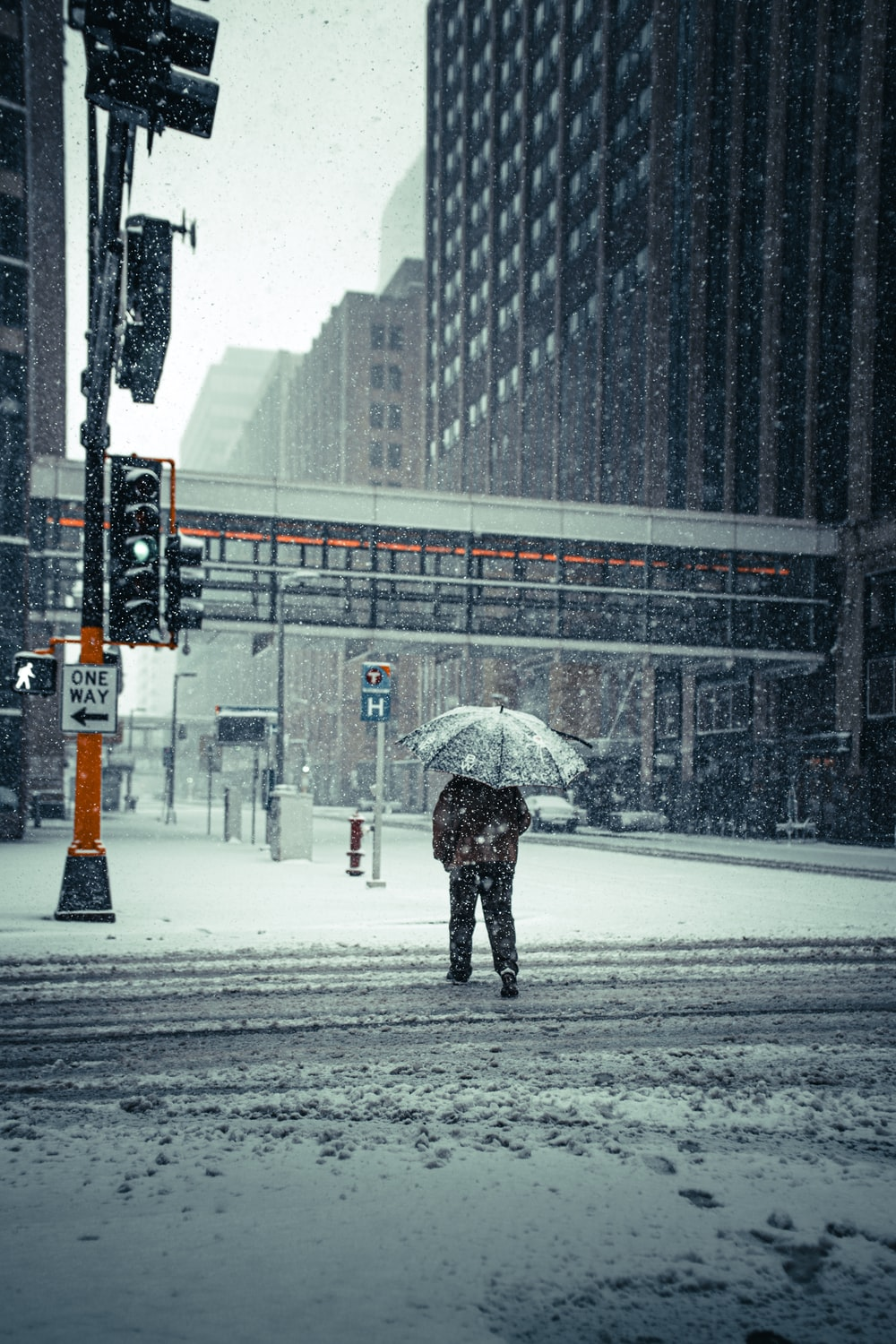 person in black coat holding umbrella walking on snow covered road during daytime