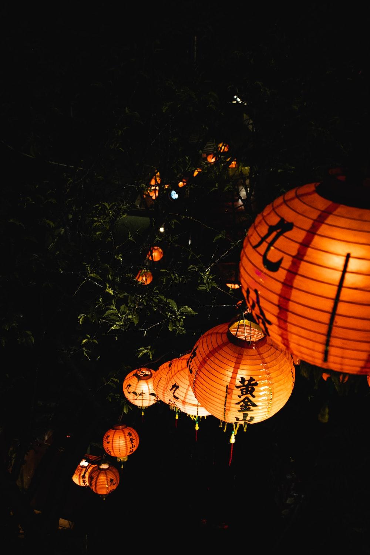 orange and white paper lantern