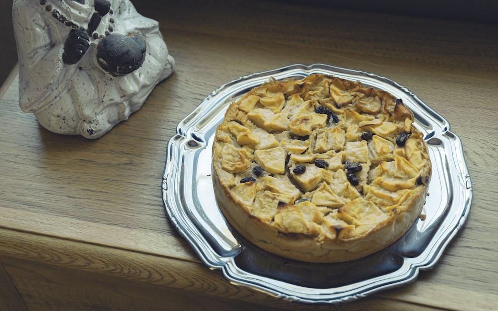 pie on white ceramic round plate
