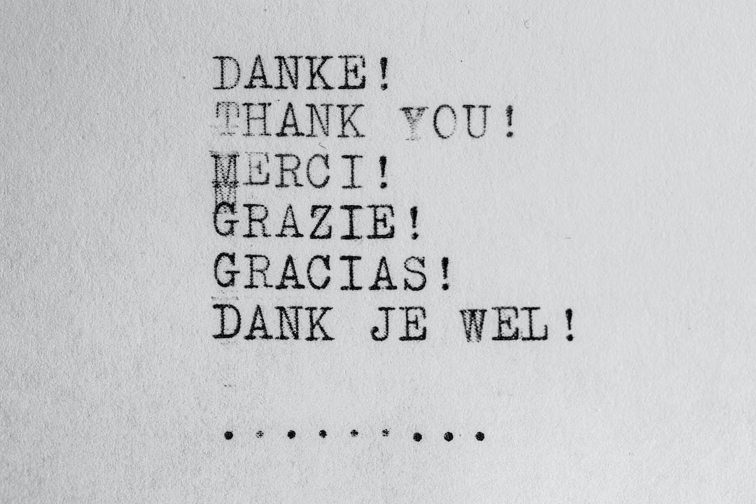 Thank you / Dankjewel