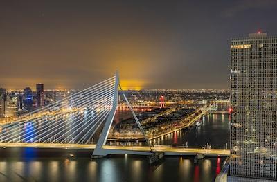 Rotterdam bridge over water during night time