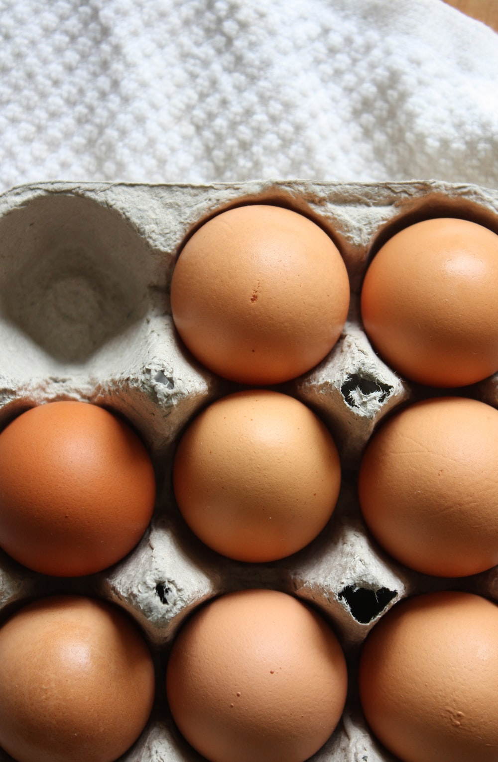 brown eggs on gray egg tray