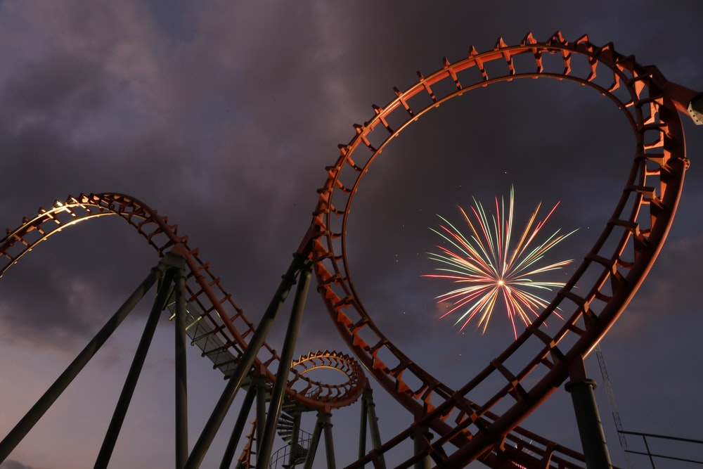 brown and black ferris wheel under cloudy sky
