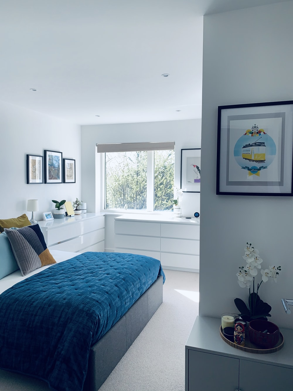 blue bed linen near white wooden framed glass window