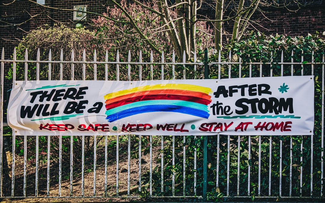 Sign displayed on the gates of Elmgrove Primary School regarding the Covid-19 pandemic. I find it interesting that the rainbow has become the symbol of hope for this global crisis given its mythological significance (i.e., Noah and the flood).