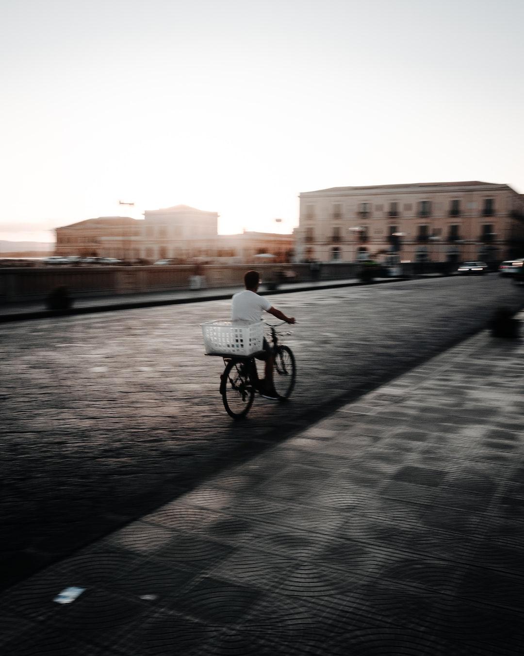 Busy man on a bike