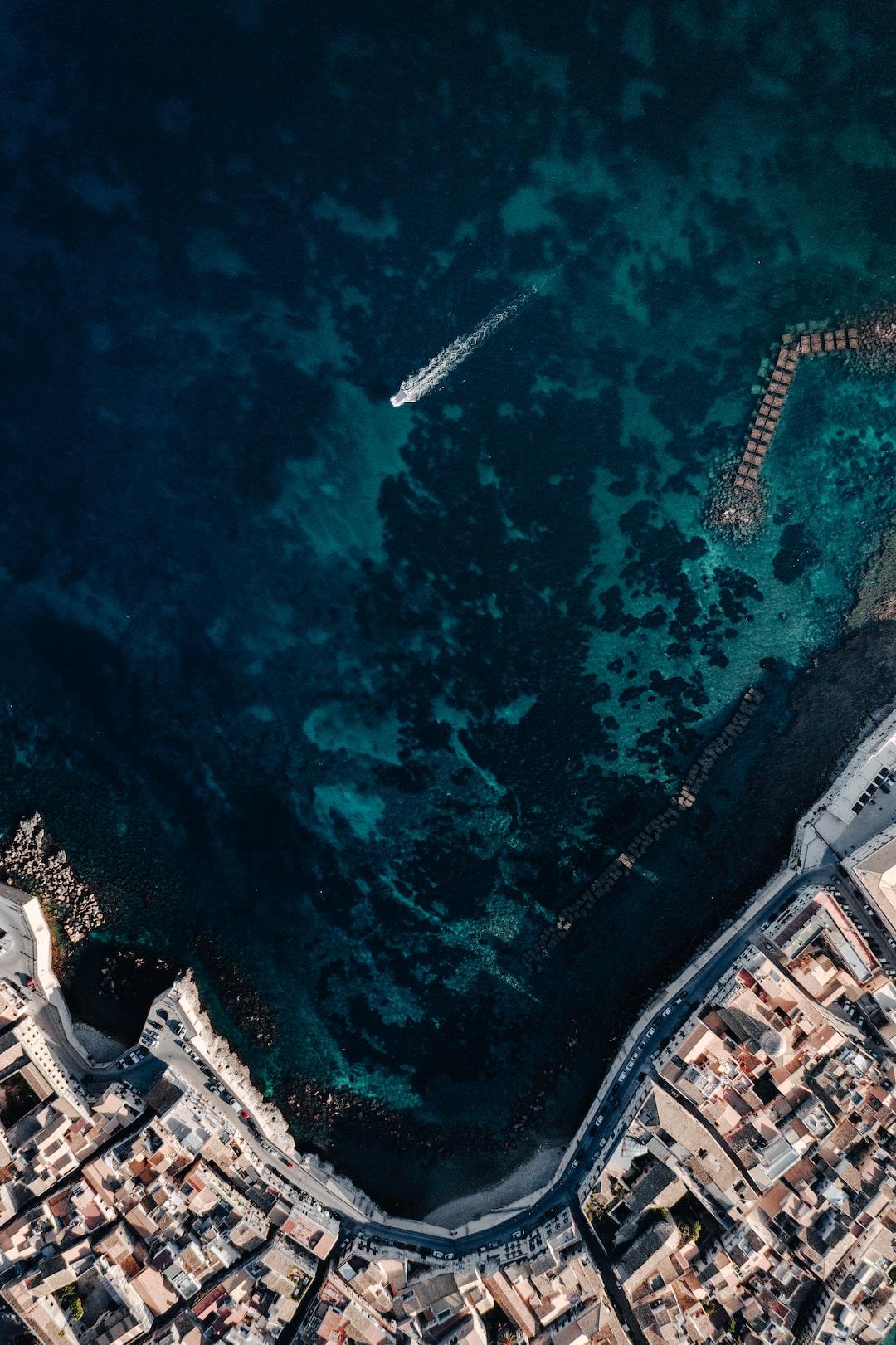Top Down drone shot of Isola di Ortigia, Italy