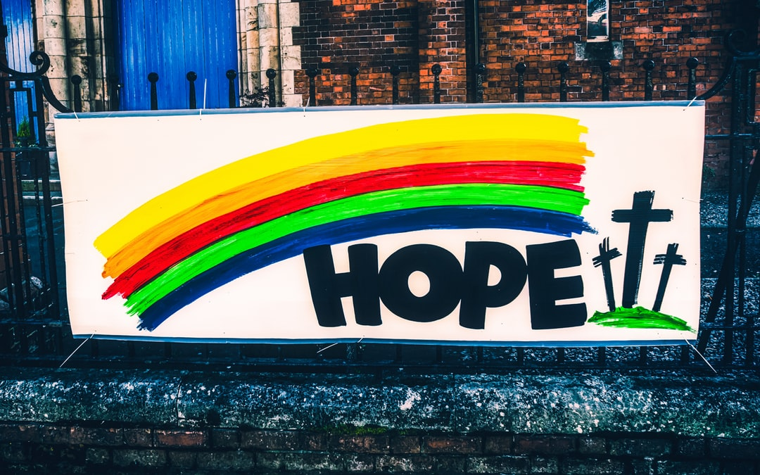 A sign displayed outside McQuiston Memorial Presbyterian Church in East Belfast in response to the Covid-19 pandemic. Again, the mythological symbol of the rainbow is used.