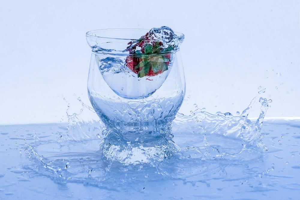przezroczysta szklana miska z czerwonymi płatkami róż