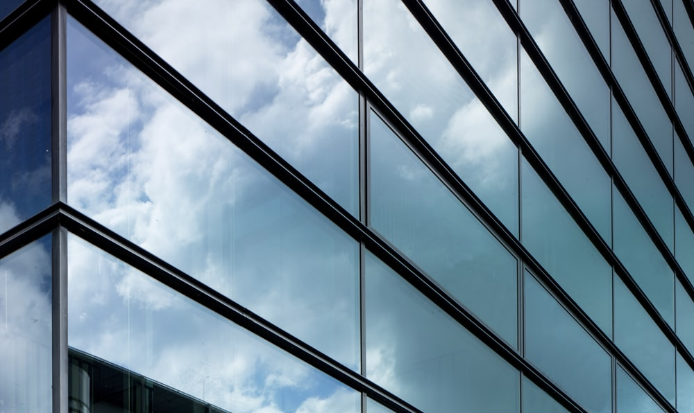 clear glass window with white steel frame