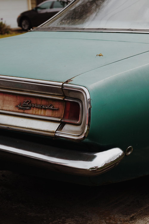 teal and silver car door
