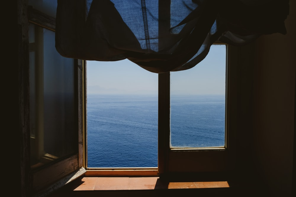 black window curtain on window