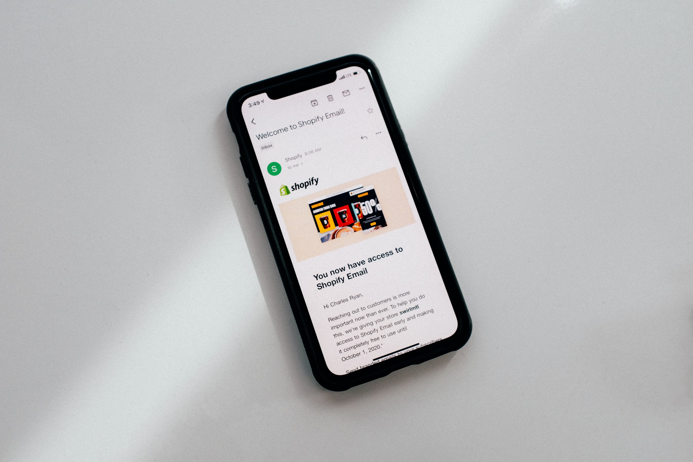 iPhone and shopify email
