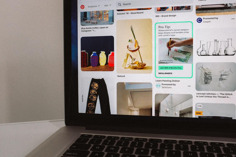 a computer screen showing Pinterest