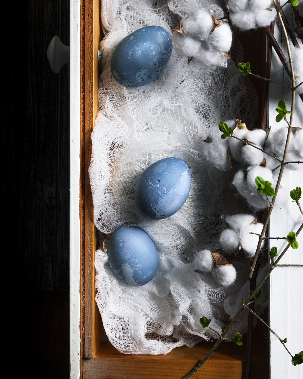 blue and white egg ornament