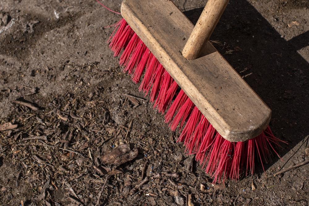 brown wooden handled brush on brown soil