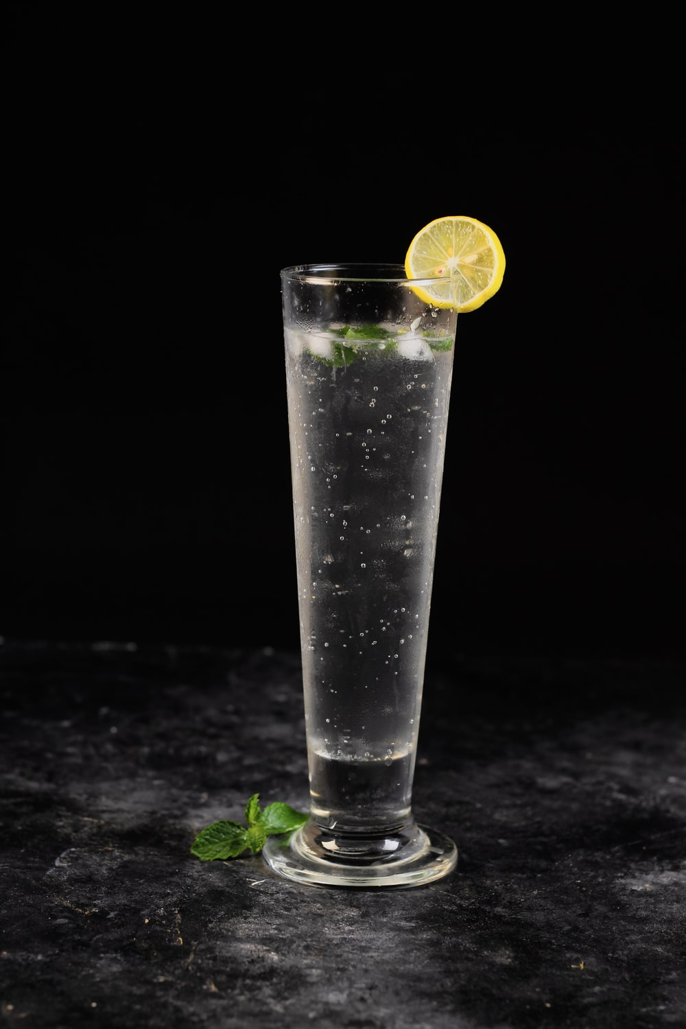 clear drinking glass with lemon juice