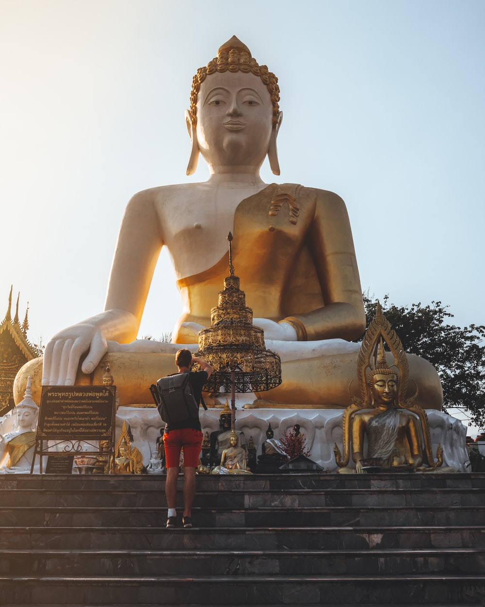 gold buddha statue under white sky during daytime