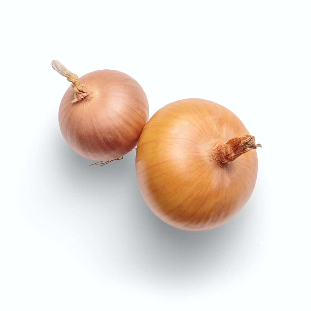 3 white garlic on white background